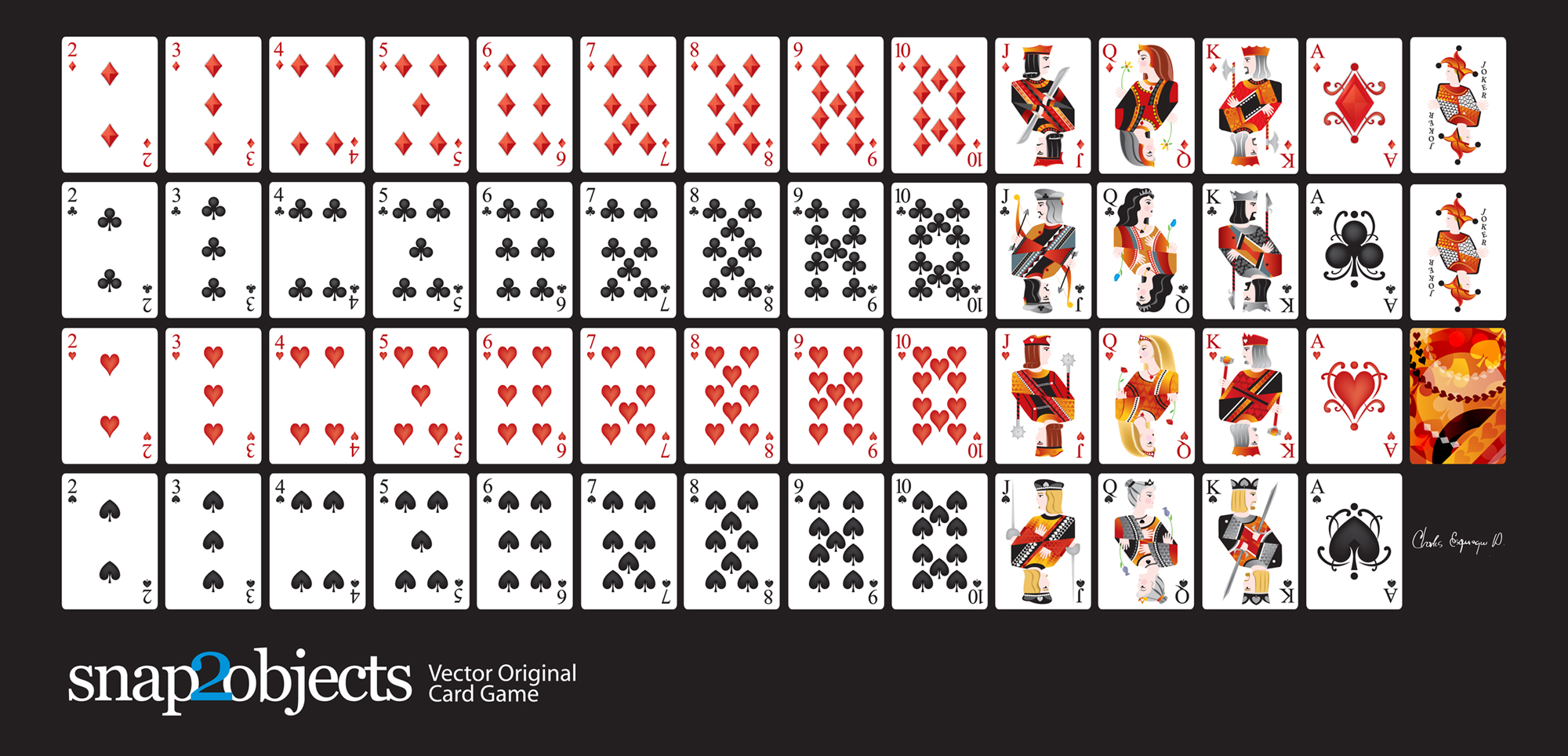 Flat Vector Playing Cards Deck - Snap24objects Intended For Free Printable Playing Cards Template